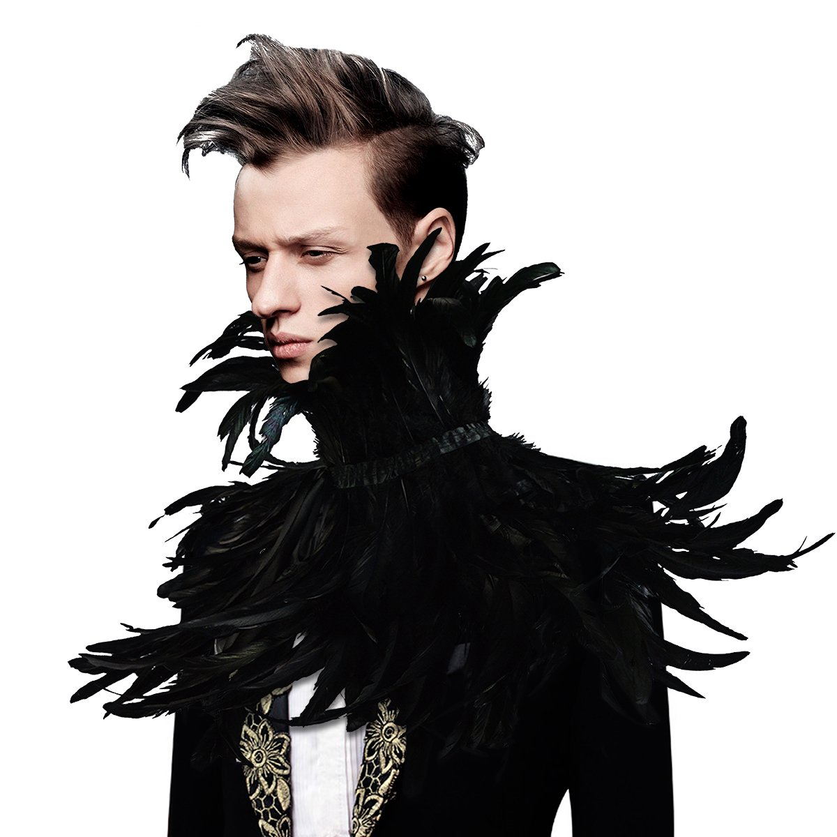 sigando Gothic Black Nat/ürliche Feder Cape Umschlagt/ücher Schal Mit Halsband