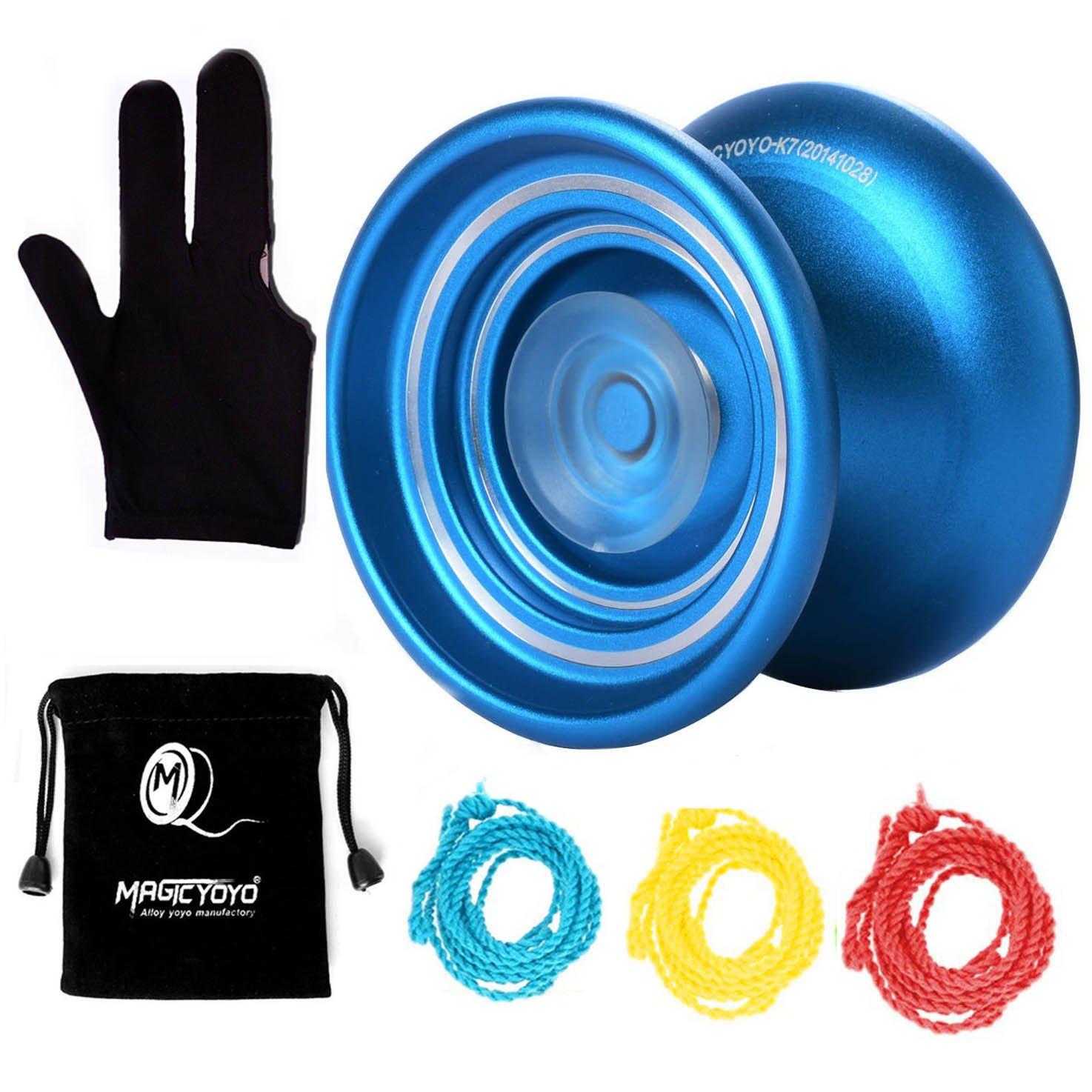 MAGICYOYO K7 Metal YoYo Responsive Alloy Yoyo Blue Kids Beginners Glove+3 Strings +YoYo Sack
