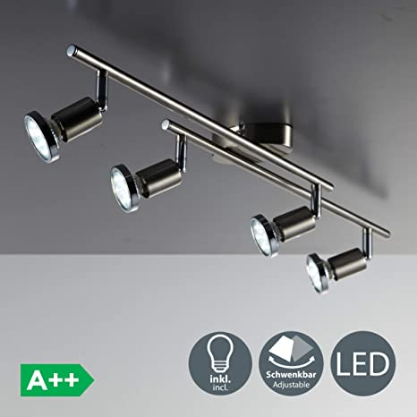 Lámpara de techo LED I Focos giratorios y orientable incl. 4x3W bombillas GU10 250lm I Color níquel mate I Metal I Luz blanco cálido 3000K IP20