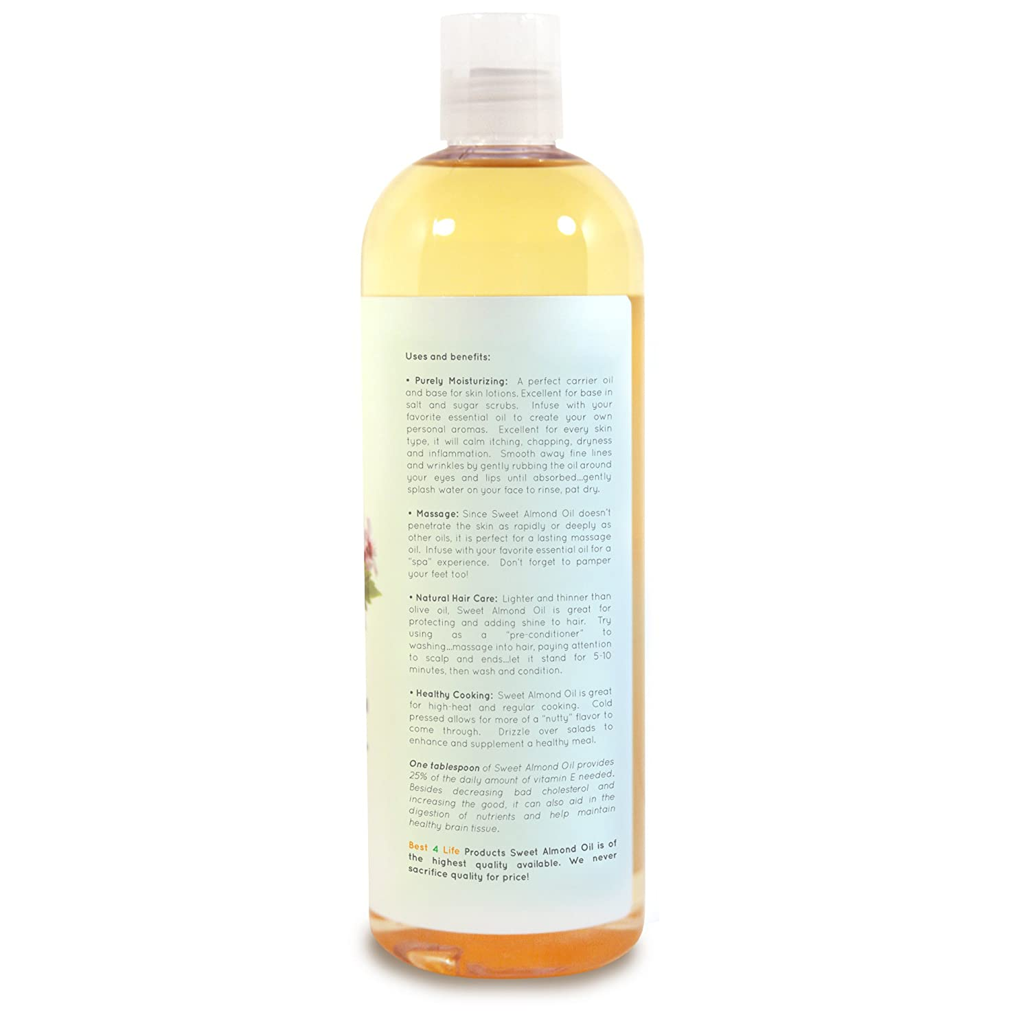 BEST 4 LIFE Products 100% Pure Sweet Almond Oil 16 oz - Natural Moisturizer  - Great for Skin,
