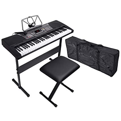 LAGRIMA 61 Key Portable Electric Piano Music Keyboard, Bundle W/H Stand, Microphone, Headphone, Bag, Bench, Music Stand and Power Supply, Suit for Kids (Over 8 Years Old) Teen Adult Beginner best electric keyboard