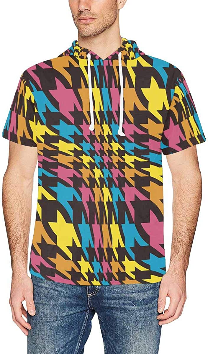 INTERESTPRINT Mens Hoodies Pullover Abstract Hounds Tooth Drawstring Short Sleeve Tops XS-2XL