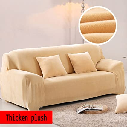 Groovy Anti Slip Elastic Slipcover Plush Solid Color Sofa Cover Winter Thicker Surefit Stretch Furniture Protector For 1 2 3 4 Cushions Sofa Leather Sofa Customarchery Wood Chair Design Ideas Customarcherynet