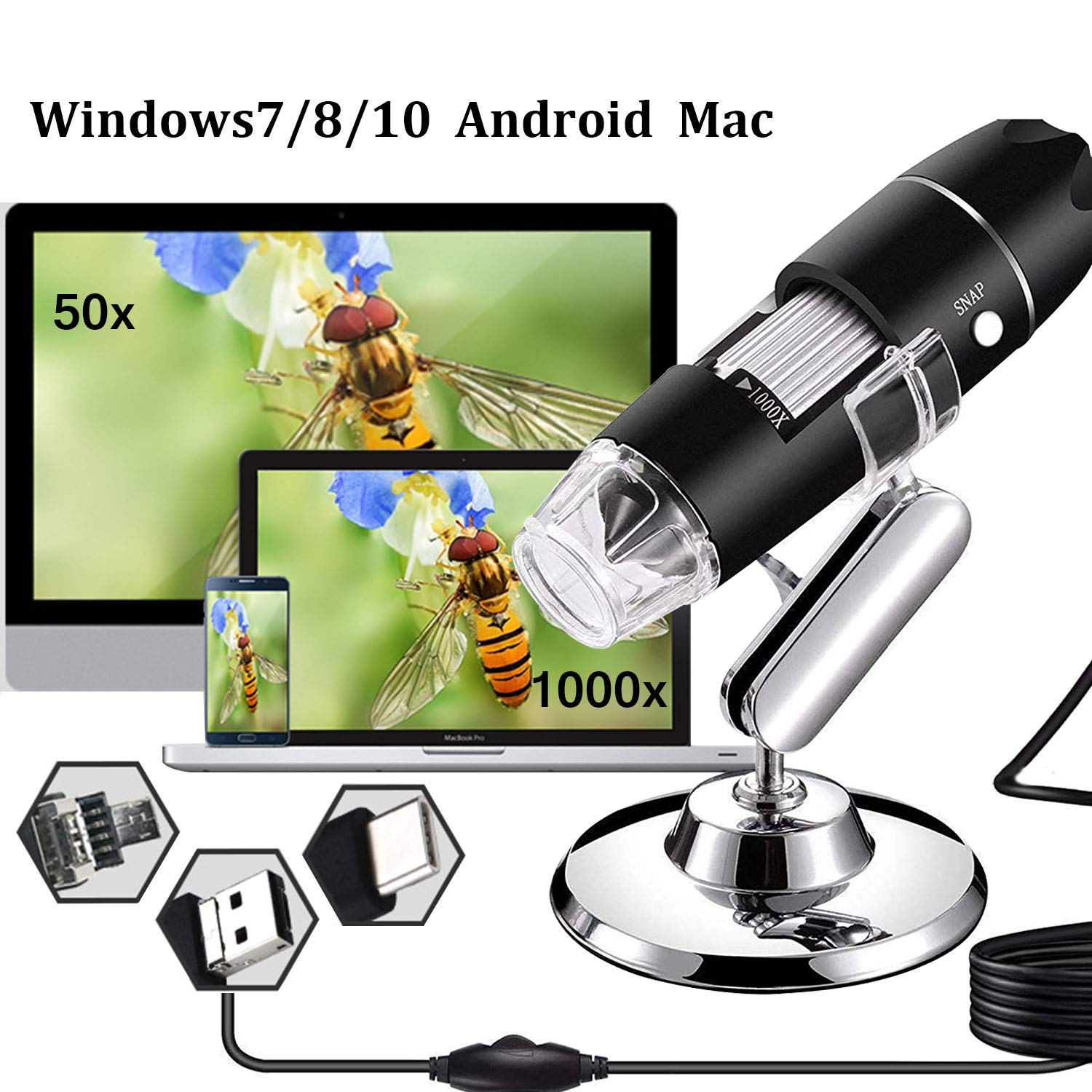 AOLOX USB Microscope, 1000x Handheld Digital Microscope Camera with 8 LED Light and Stand Hobby Tools for Kids, Students, Adults, Compatible with Mac/ Window 7/Android