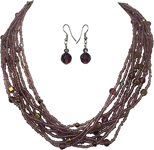 Long Necklace Set Purple Black Seed Bead Layered Fall Multi Strand Natural