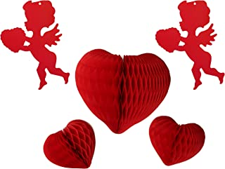 product image for Set of 5 Valentine Heart Themed Paper Party Decorations, Red (One 12 inch Heart, Two 8 inch Hearts, Two 12 inch Cupid Cutouts)