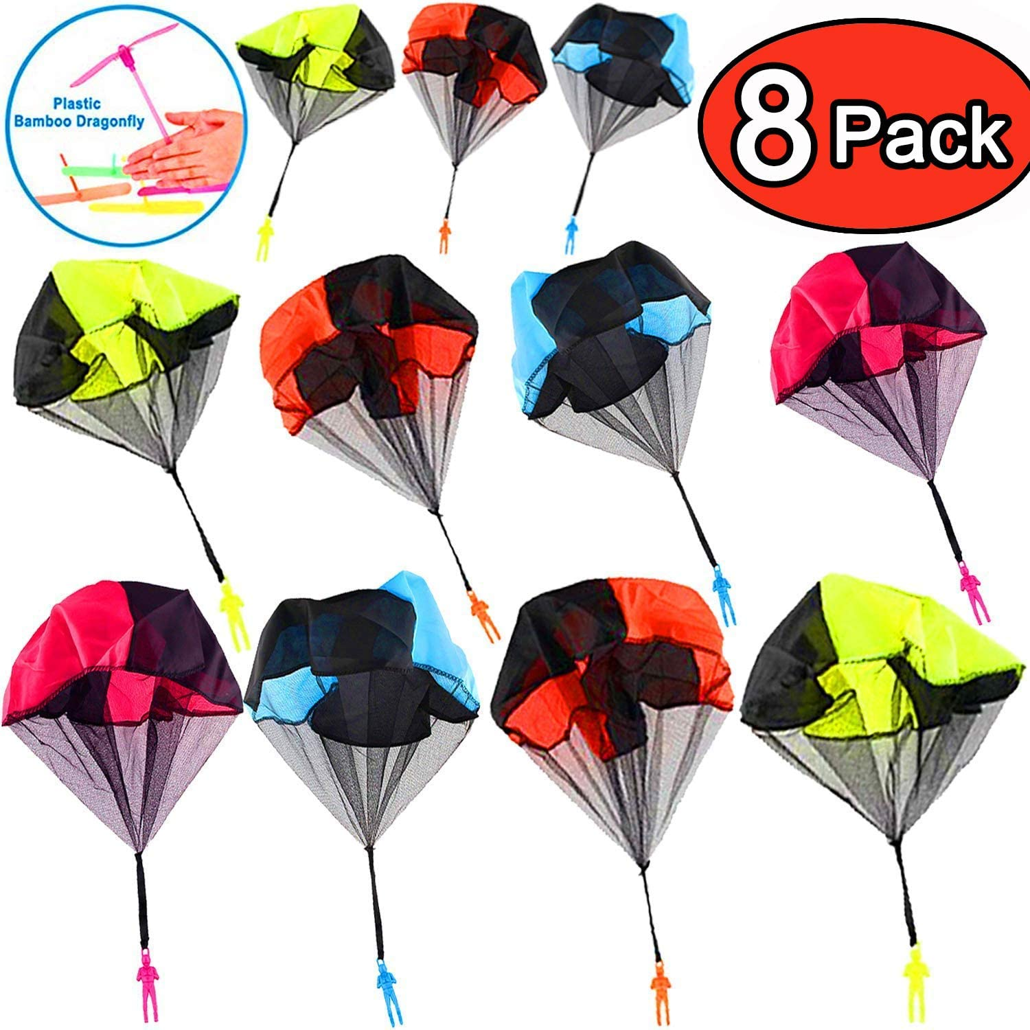 8 Pcs Parachute Tangle Free Throwing Parachute with Launcher Flying Toys Soldier Skydiver Hand Throw Sports /& Outdoor Play Toys for Kids Gifts Party Favor Parachute Toys 8 Pcs Parachute Army Men