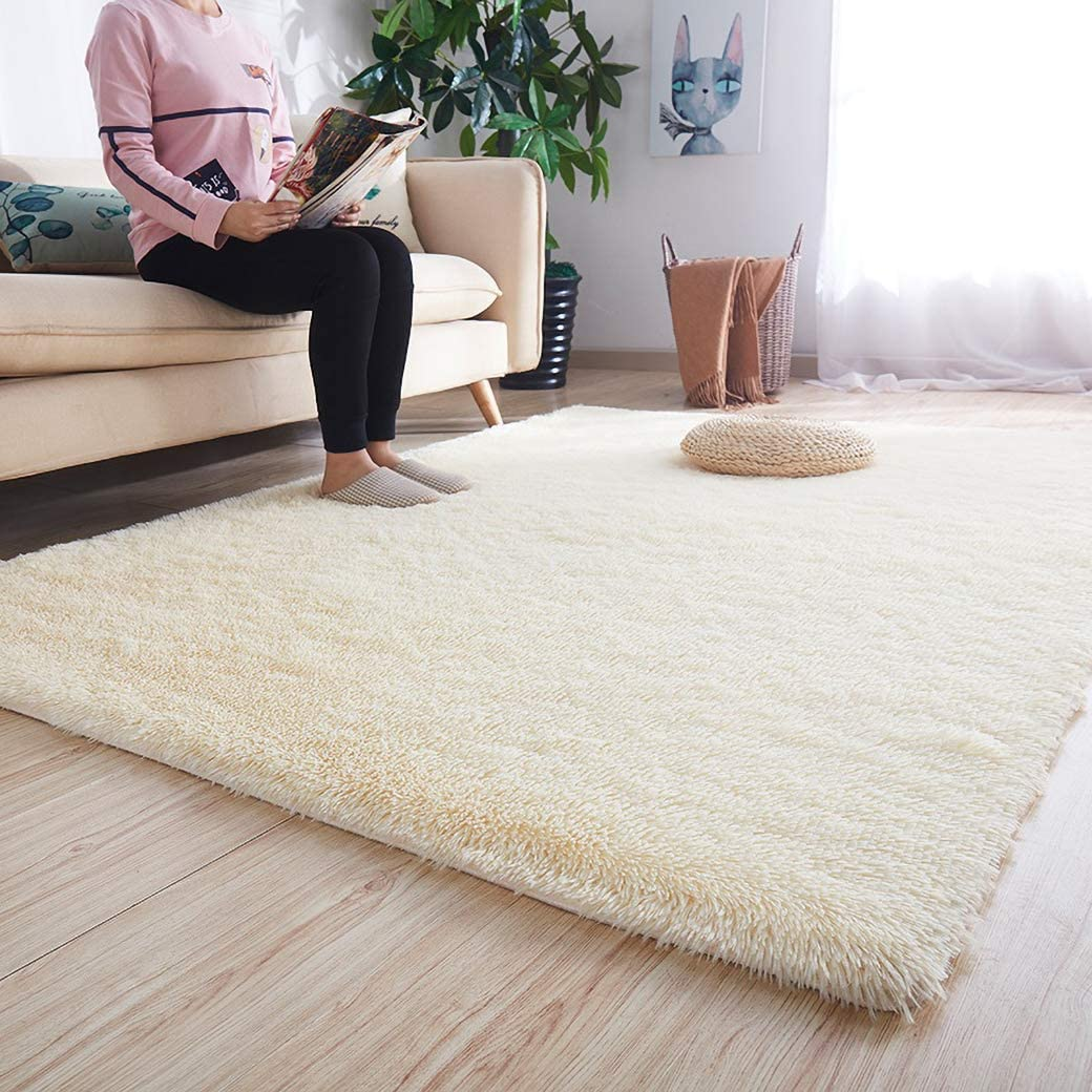 MENGH Carpet 40x40cm Faux Fur Nursery Mats High Pile Washable for Children Bedroom or Nursery white