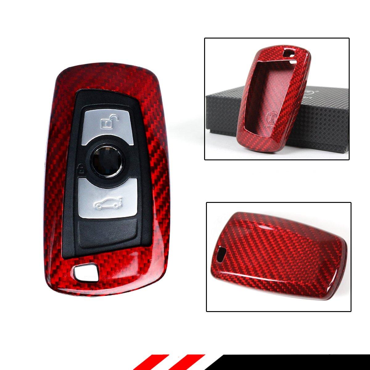 Luxury赤カーボンファイバーSnap On Case For BMW 1 / 2 / 3 / 4 / 5 / 6シリーズキーFobリモート B079C88TQG
