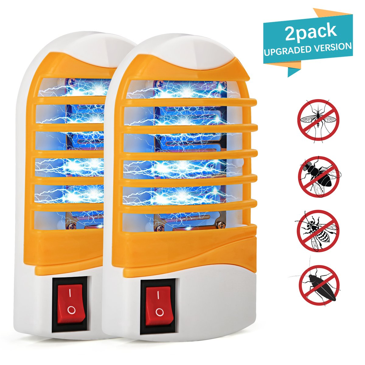 Kungber Bug Zapper, Upgraded Mosquitoes Killer, Indoor Mosquito Zapper Bug Light, Plug-in Electronic Insect Gnat Flying bugs Killer Trap, for Bedroom Home Porch with Blue Night Light (Pack of 2)