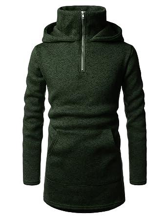 aa9f31f8f NEARKIN (NKNKHD710) Pullover High Collar Kangaroo Pocket Fleece Zip Up  Hoodie KHAKI US L