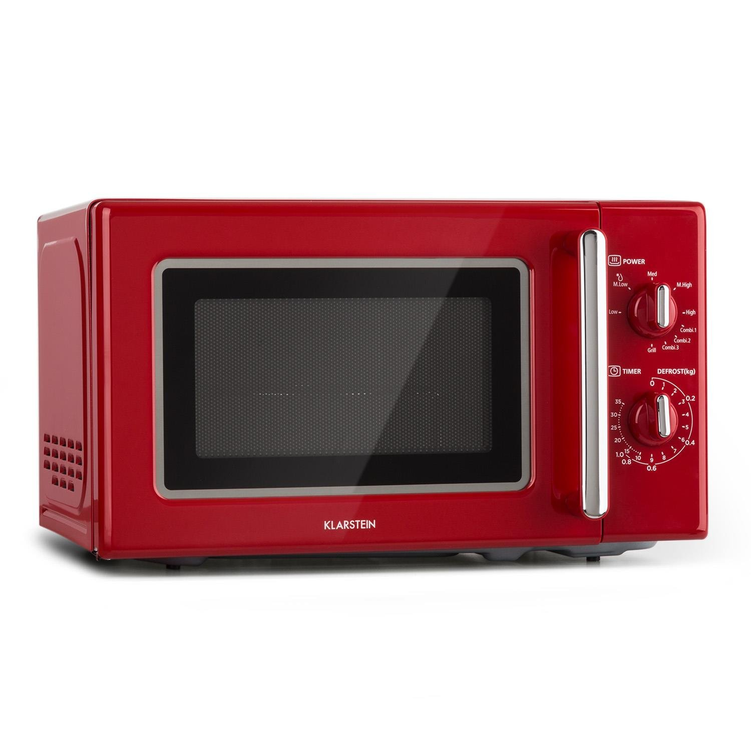 Klarstein Caroline Microwave Microwave Grill Combo 2-in-1 Microwave Grill Function 20-Litre Cooking Space 700/1000 Watts Power Ø 25.5cm QuickSelect Retro Design Stainless Steel Red