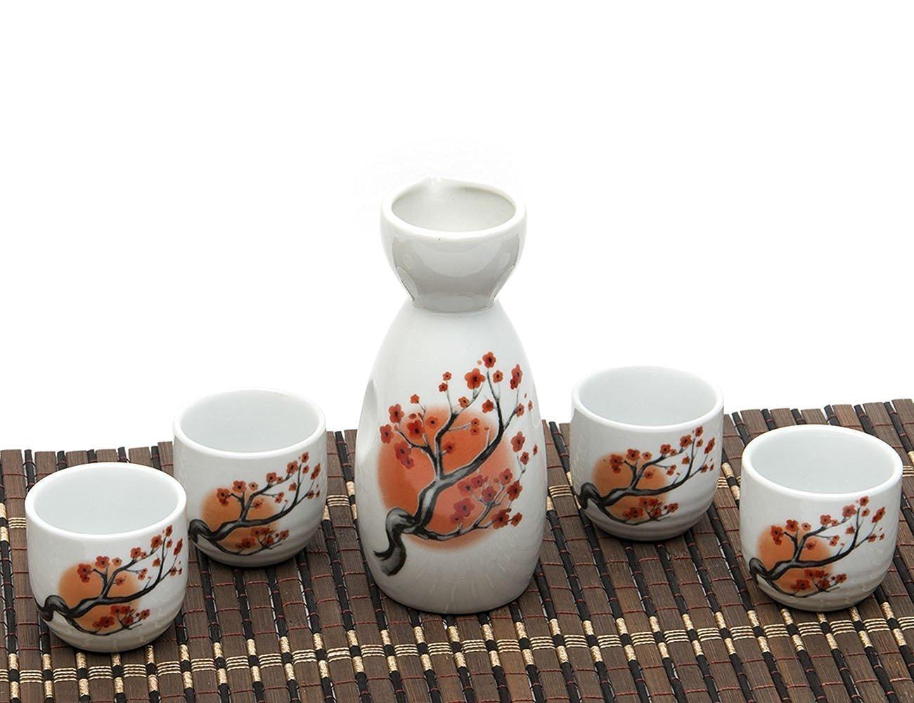 Japanese Sake Set, 5 Pieces Sake Set Hand Painted Retro House Design Porcelain Pottery Traditional Ceramic Cup Craft Wine Glasses(Blue) SYNCHKG095125