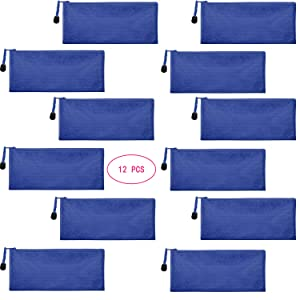 Sailing-go 12 Pieces Blue Zipper Waterproof Bag Pencil Pouch for Cosmetic Makeup Bills Office Supplies Travel Accessories and Daily Household Supplies