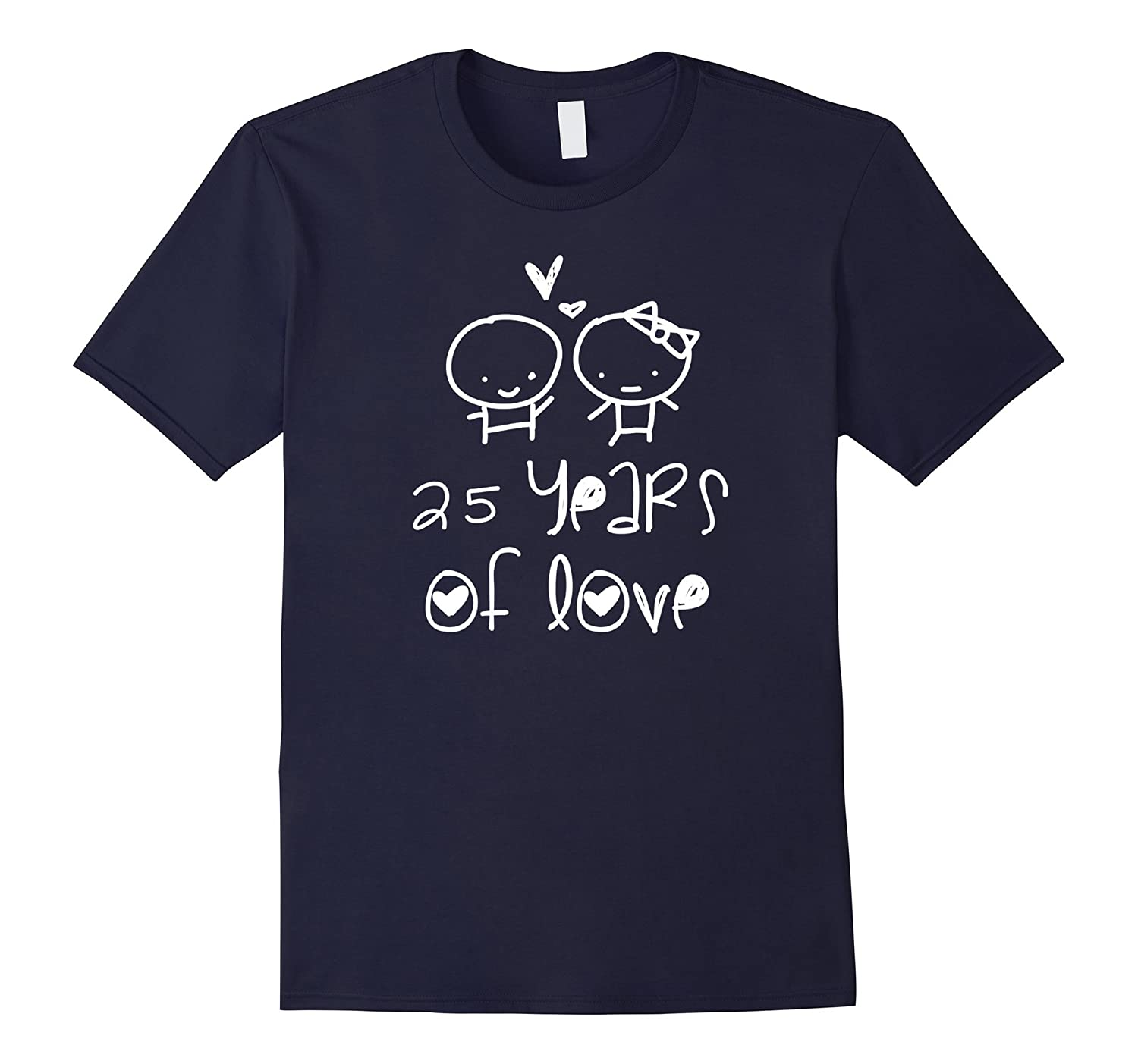 25 Years Of Love T-shirt. Silver Wedding Gifts Cute Graphic-T-Shirt