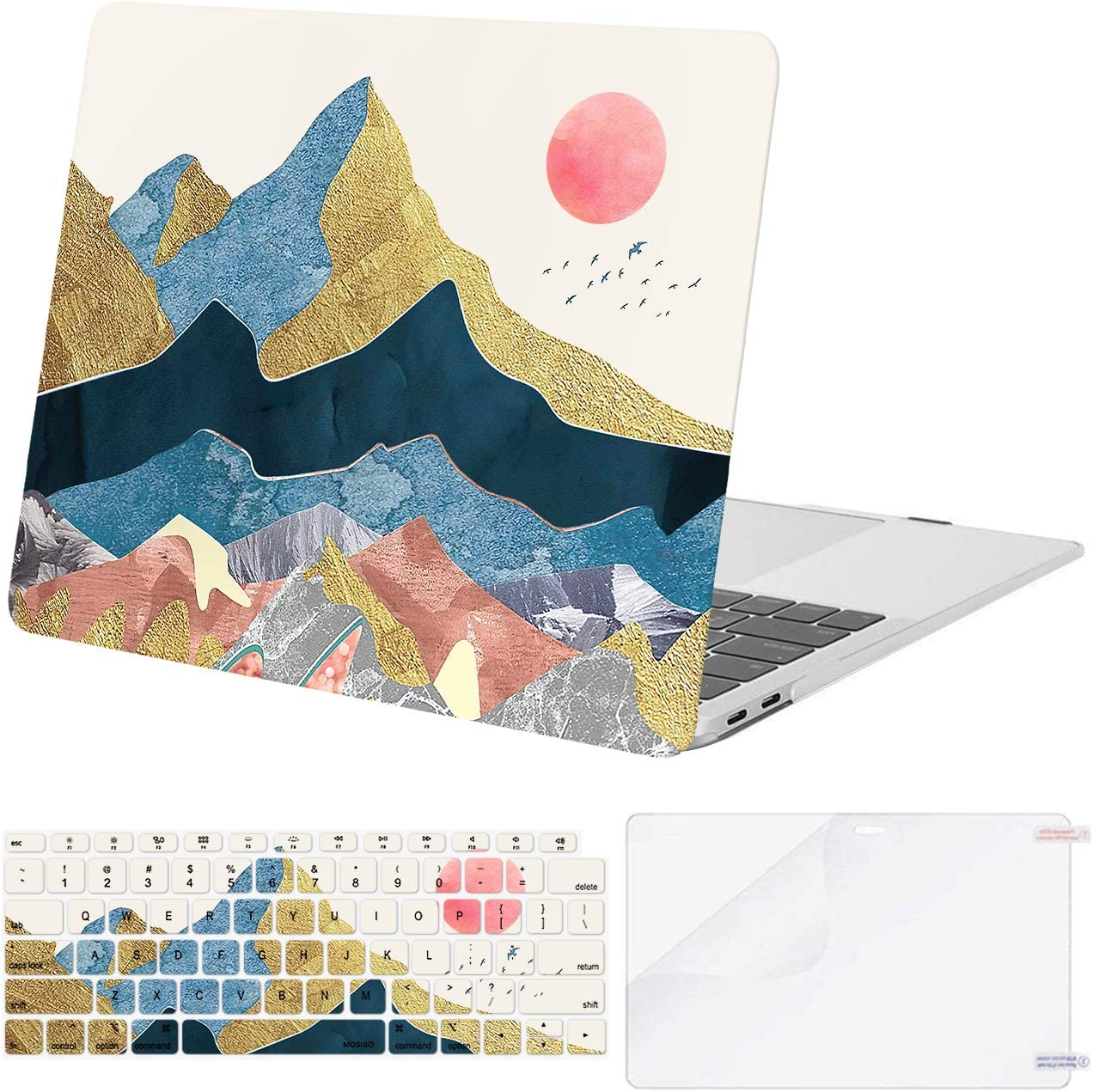 MOSISO Compatible with MacBook Air 13 inch Case 2020 2019 2018 Release A2337 M1 A2179 A1932 Retina Display Touch ID, Plastic Pattern Hard Shell Case&Keyboard Cover&Screen Protector, Abstract Scenery