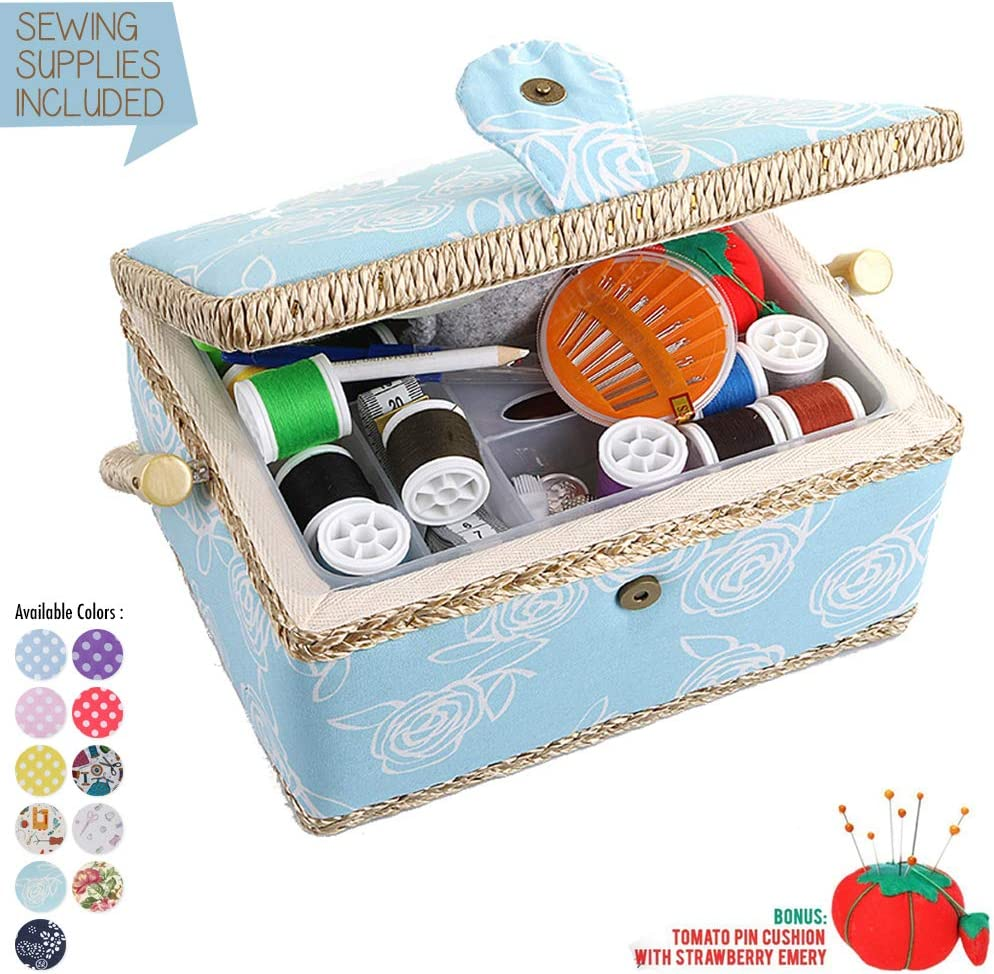 Large Sewing Box with Accessories Sewing Storage and Organizer with Complete Sewing Kit Tools Wooden Sewing Basket with Removable Tray and Tomato