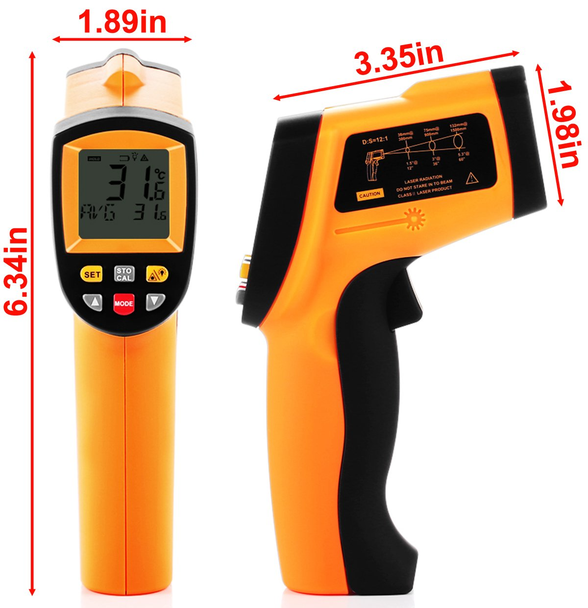 Tekit Non-Contact Laser Infrared Digital Thermometer, -50 ~ 900℃ Temperature Measuring Range, Handheld Laser Target Pointer / Backlight / Auto Power On/Off by Tekit (Image #5)
