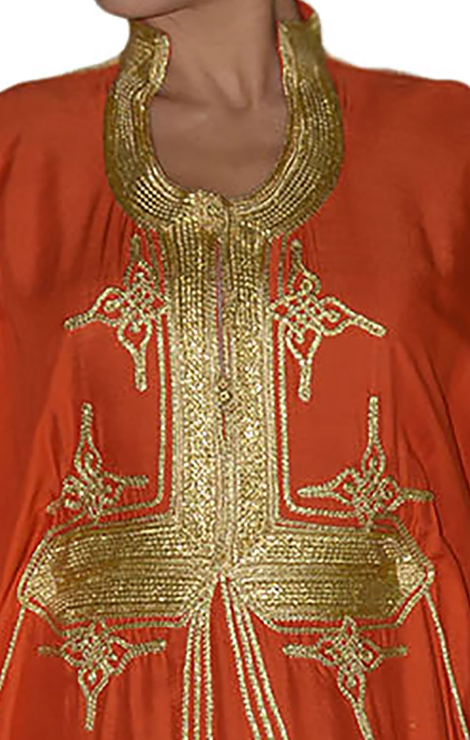 Moroccan Caftan Hand Made Breathable Cotton with Gold Hand Embroidery Long Orange by Moroccan Caftans (Image #5)