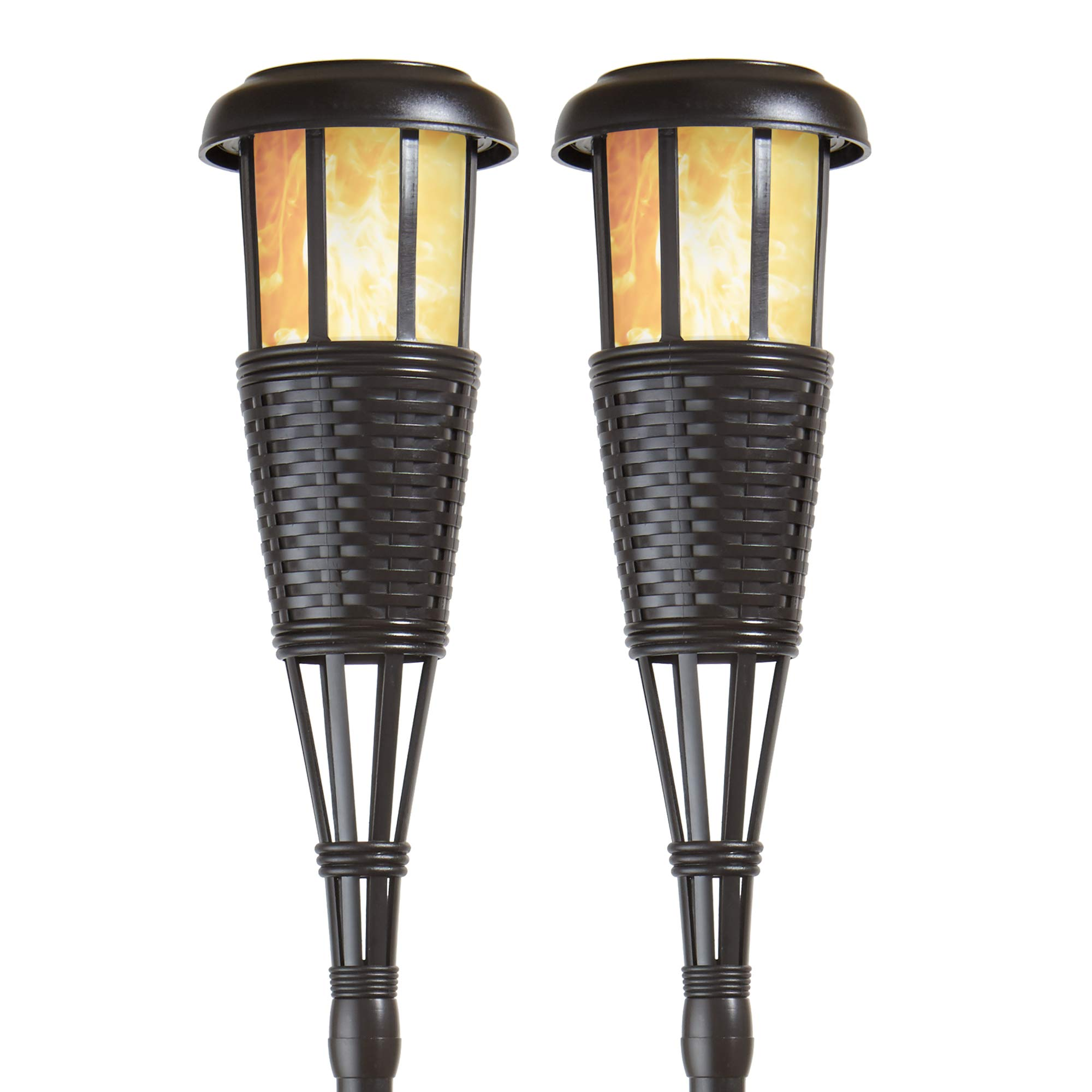 Newhouse Lighting FLTORCH2-B Solar-Powered Flickering Flame Effect LED Outdoor Island Torches For Landscape Lighting, Black Dark Chocolate Finish, 2-Pack