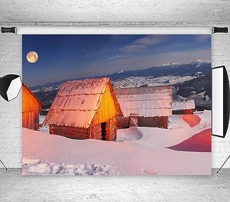 Invierno Frozen Bosque Casa Luna Distante Montaña Paisaje Fondo Caseta Nieve Bosque Copo de Nieve Fondo Fiesta Vacaciones Recién Nacido Niño Familia Retrato Photo Studio Props BoTong_snow017-7x5FT: Amazon.es: Electrónica