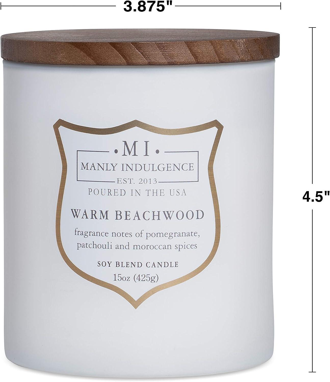 Manly Indulgence Warm Beachwood Soy Blend Candle 15 oz.