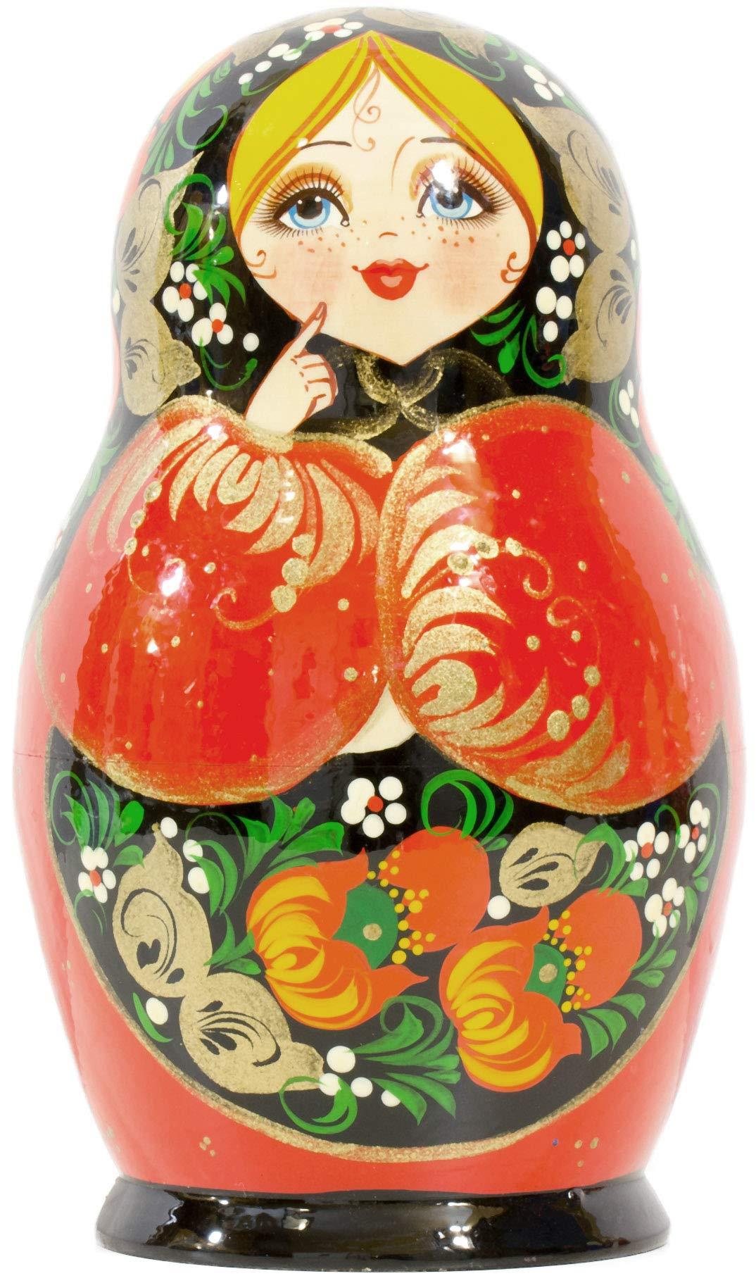 Russian Nesting Doll - Kirov - VJATKA - Hand Painted in Russia - Big Size - Wooden Decoration Gift Doll - Matryoshka Babushka (Style C, 8.25``(10 Dolls in 1)) by craftsfromrussia (Image #6)