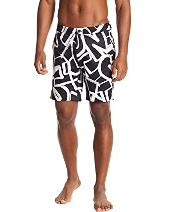 "6677760596b66 Image Unavailable. Image not available for. Color: Onia Calder Mens  7.5"" Graffiti Swim Trunks Shorts 38 Black/White"