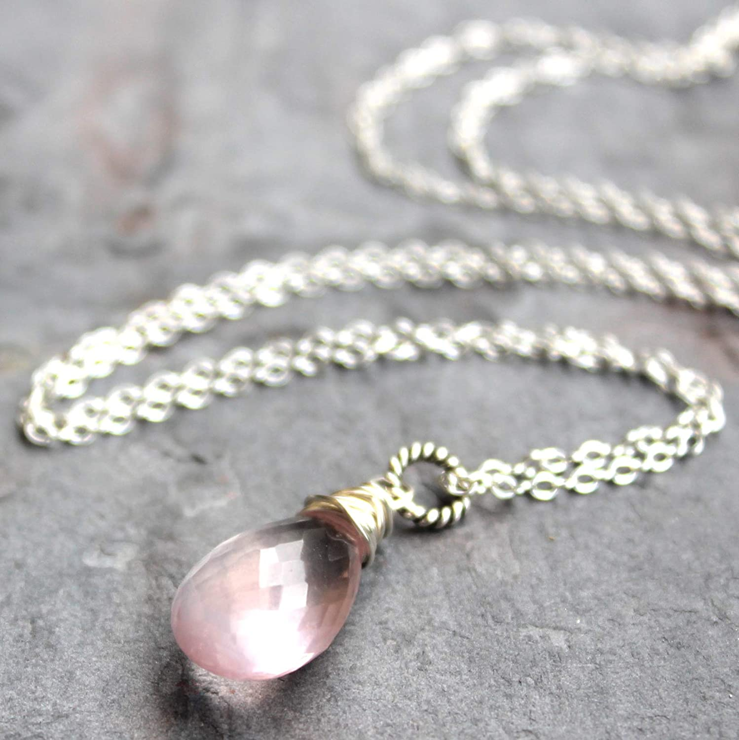 Pendant Rose Quartz Necklace Sterling Silver Pink Gemstone 20 Inches