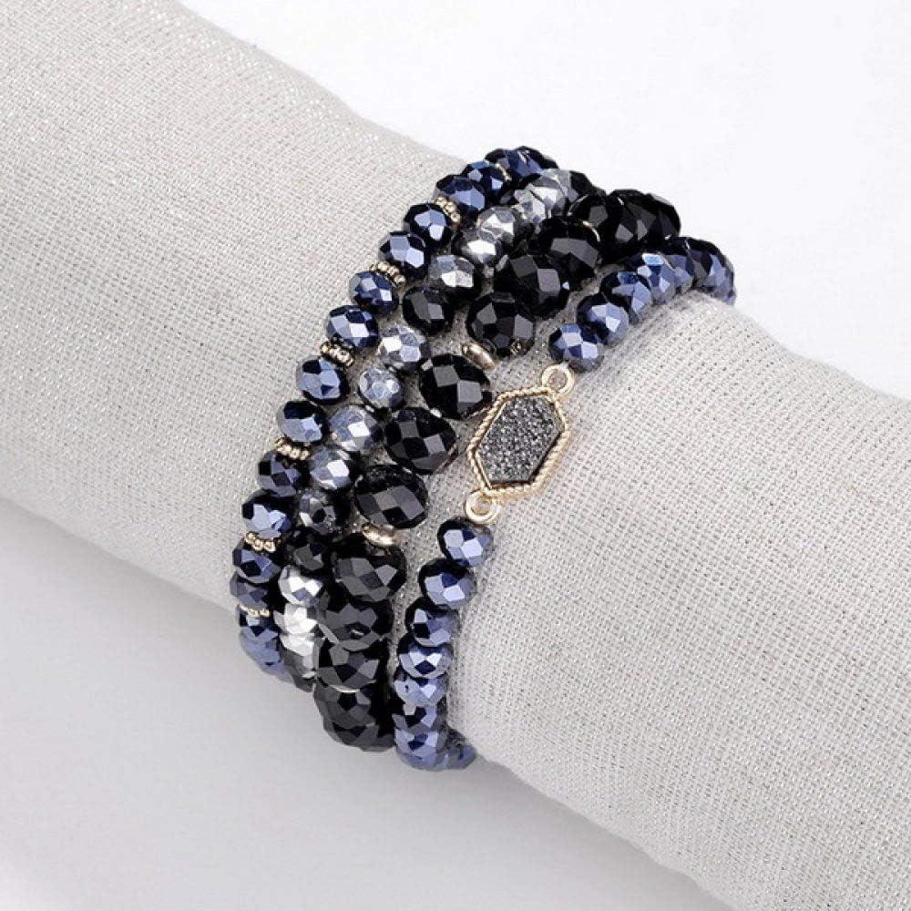 ZMMZYY Pulsera Piedra,Tallado de Piedras Semi-Preciosas Pulseras de Perlas Negras apiladas Cordones elásticos Ajustables de Rosca de 8 mm de Las Mujeres