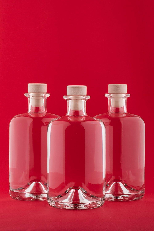slkfactory Botellas vacías de Farmacia de 500 ml Botella de Vino Botella de Licor Botella de Aceite Botella de vinagre de Cristal 0,5litros l Nr 1 (4Unidades)