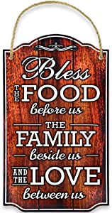 Bless Our Family Food Love Sign by Bigtime Signs - Heart Warming Quote - Strong PVC with Rope for Hanging - Country, Rustic House, Kitchen, Dining Wall Decor - Housewarming, Home Gifts - 8.5x14.5 Inch (Brown)