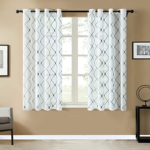 Amazon Com Top Finel White Short Sheer Curtains 45 Inch Length Teal Embroidered Diamond Grommet Window Curtains For Living Room Bedroom 2 Panels Home Kitchen