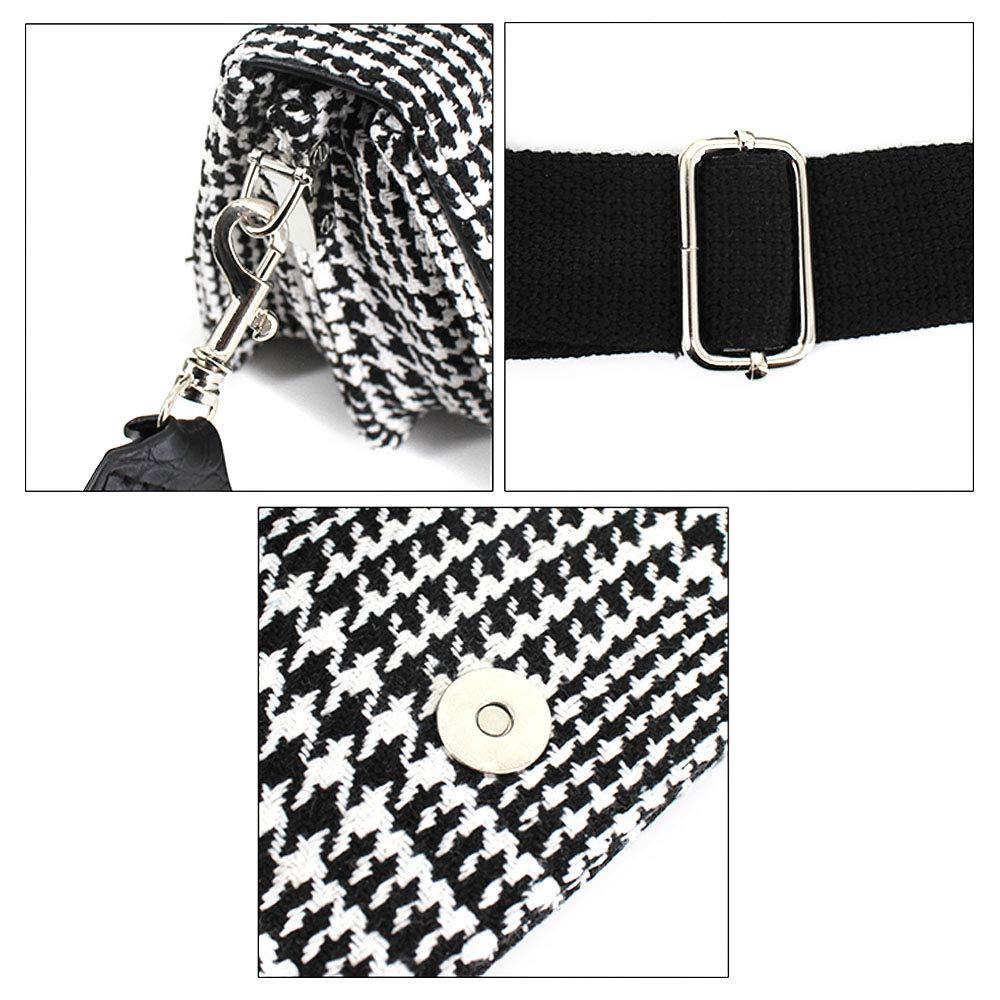 Felice Women Vintage Check Plaid Flap Shoulder Messenger Bag Small Crossbody Bag Cellphone Pouch Satchel Purse