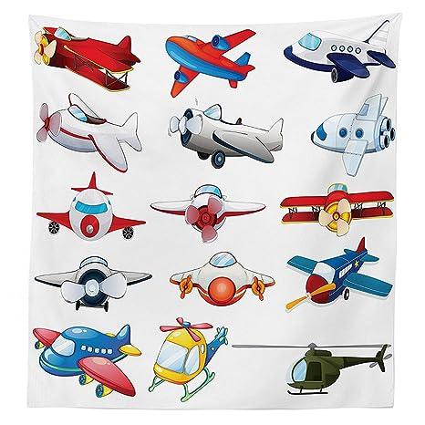 vipsung Avión decoración Mantel ilustración de Diferentes Tipo de Aviones Juguetes automatizado de Atracciones Infantiles Dibujos