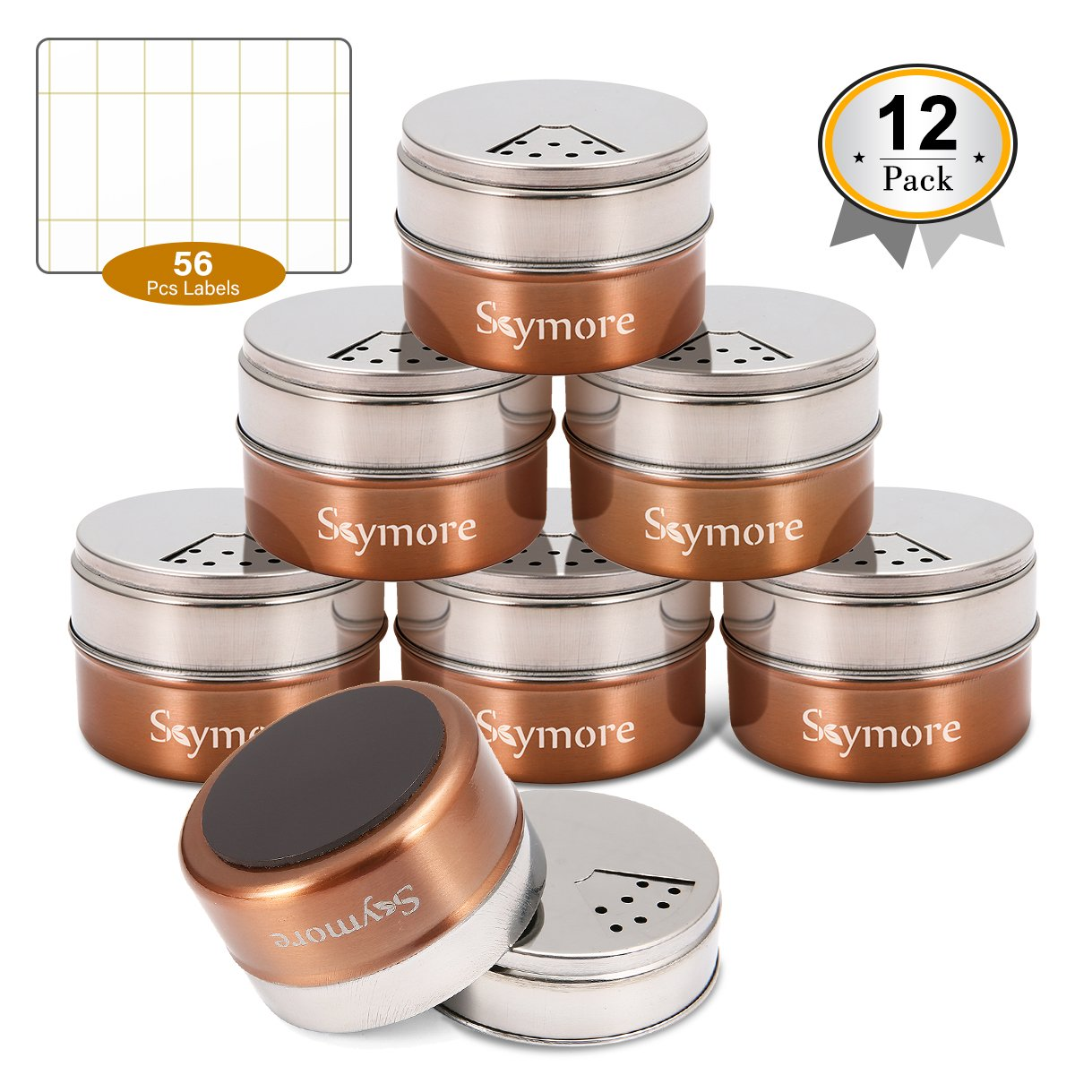 Skymore 12 Pcs Magnetic Spice Tins, Stainless Steel Jar, kitchen spice storage containers, Round Storage Containers with Top Lid with Sift or Pour,Stickers, Great for For Salt, Pepper or Seasoning