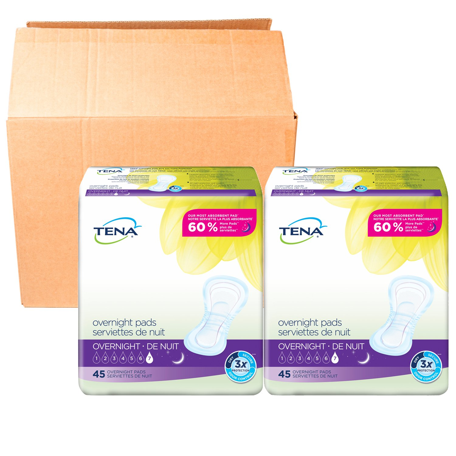 Tena Incontinence Pads For Women, Overnight, 90 Count product image