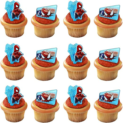 Cool Amazon Com Spiderman Web Slinger Rings 12 Pack Cupcake Toppers Funny Birthday Cards Online Inifofree Goldxyz