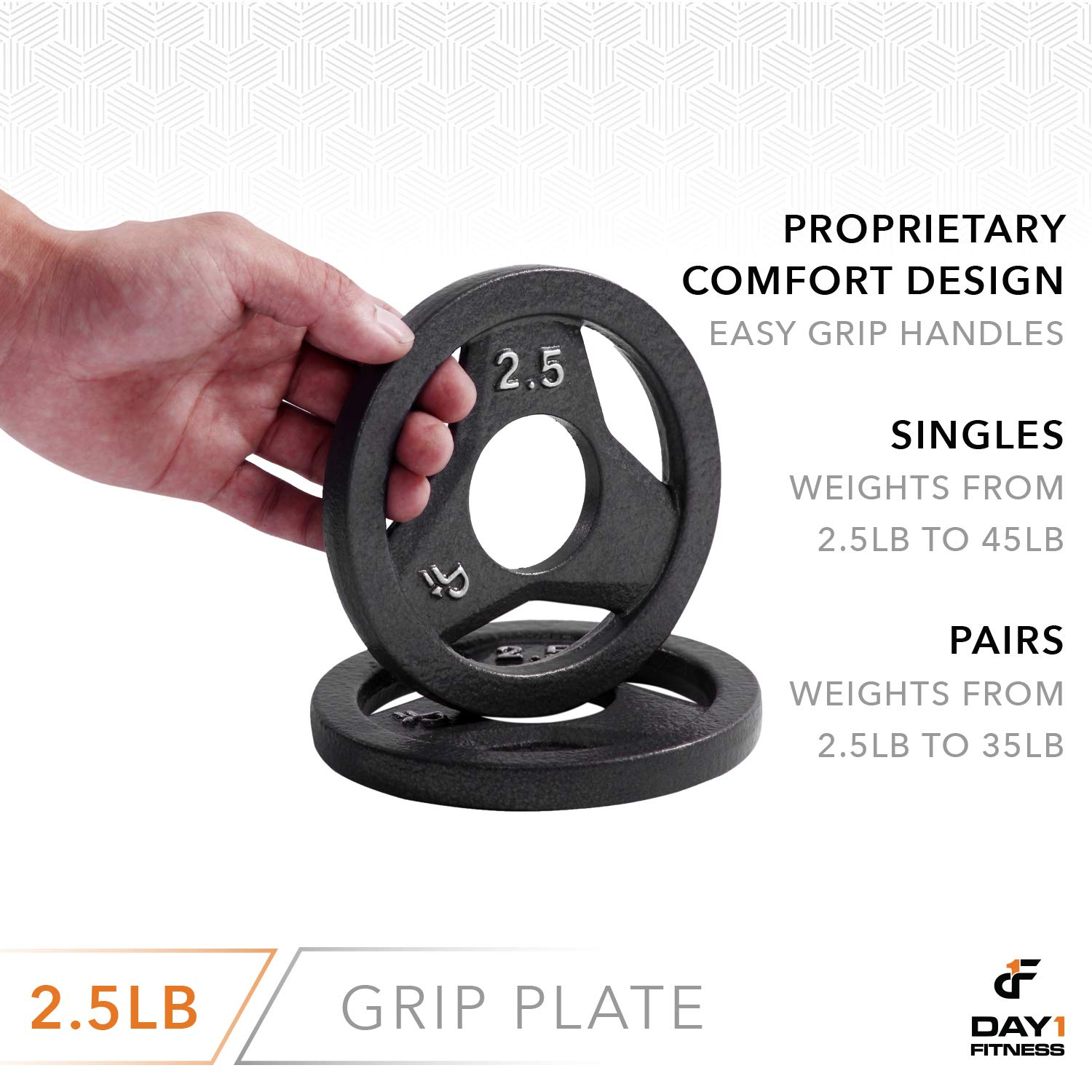 """Day 1 Fitness Cast Iron Olympic 2-Inch Grip Plate for Barbell, 2.5 Pound Single Plate Iron Grip Plates for Weightlifting, Crossfit - 2"""" Weight Plate for Bodybuilding by Day 1 Fitness (Image #5)"""