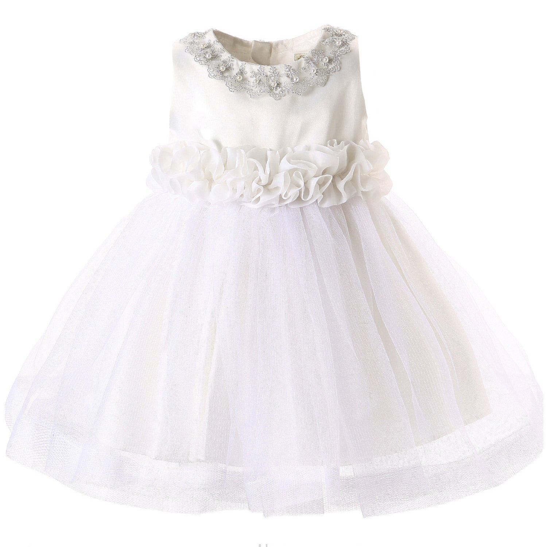 Hanakimi Soutache Sleeveless Knee-length Wedding Dress JMK1601 (115cm/5 years, White)