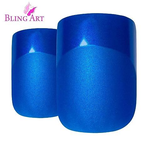 Uñas Postizas Bling Art Azul Matte 24 Squoval Medio Falsas puntas acrílicas con pegamento