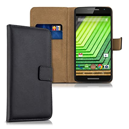 new product 3afc5 5fe63 kwmobile Wallet Case for Motorola Moto X Play - Protective PU Leather Flip  Cover with Magnetic Closure, Card Slots and Kickstand