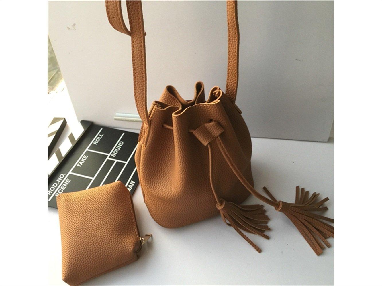 Yiyane Women's Everyday Bucket Bag Shoulder Messenger Bag(Yellow) Fashion Design