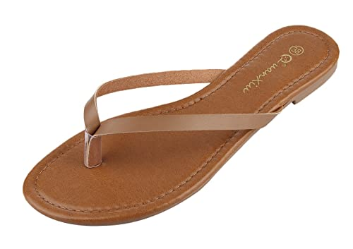 EOZY Damen Zehentrenner PU Strand Slim Sandalen Sommer Sommer Slipper Silber 37 Innerlänge 23.5cm U53USUz1sB