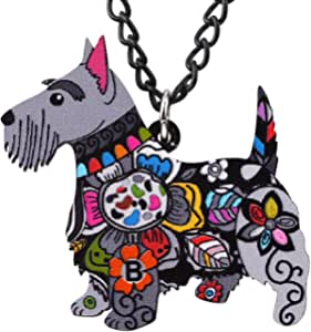 NEWEI Acrylic Floral Scottish Terrier Dog Necklace Chain Pendant Choker Fashion Animal Pet Ornaments Jewelry for Women Girl Gifts Charm