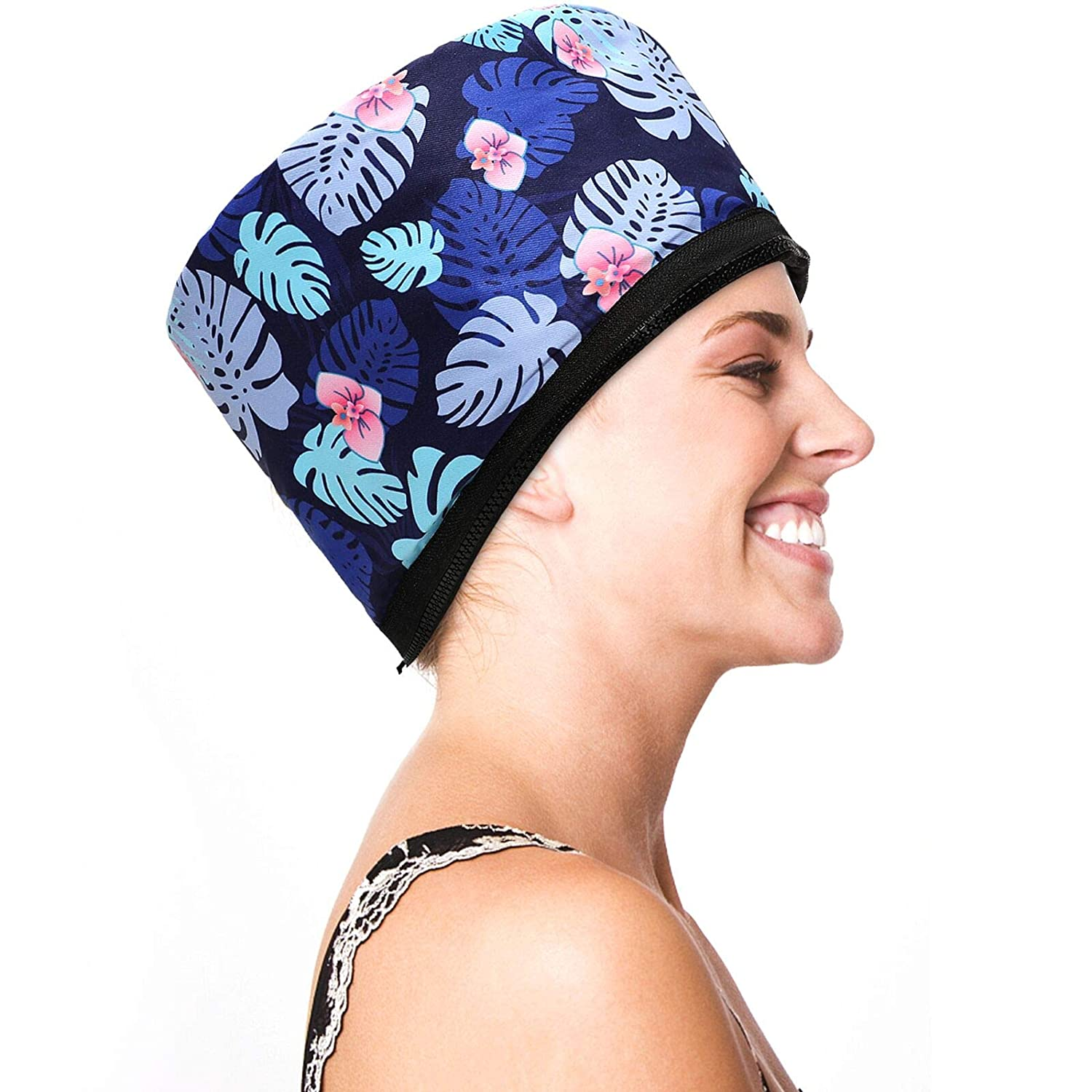 110V Electric Hair Cap Thermal Cap Hat Hair Thermal Treatment Cap with 2 Mode Temperature Control For Hair Spa Home Hair Thermal Treatment Nourishing Hair Care, Blue flower