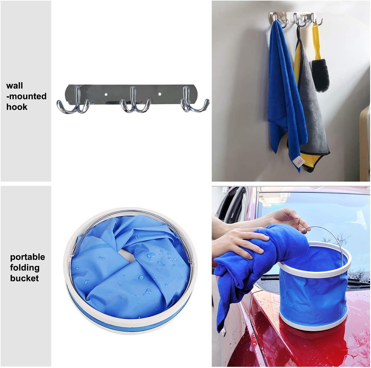 E-sds Car Cleaning Tools Kit Window Water Scraper 12pcs Car Wash Kit for Interior and Exterior Cleaning Water Bucket/… Car Washing Towel Microfiber Wash Sponge Wheel and Tire Brush