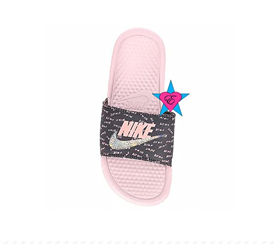 Amazon.com  Bedazzled Glitter Blush Just Do It Black Nike Benassi JDI Print  Sport Slides  Handmade 1c20fe5c5
