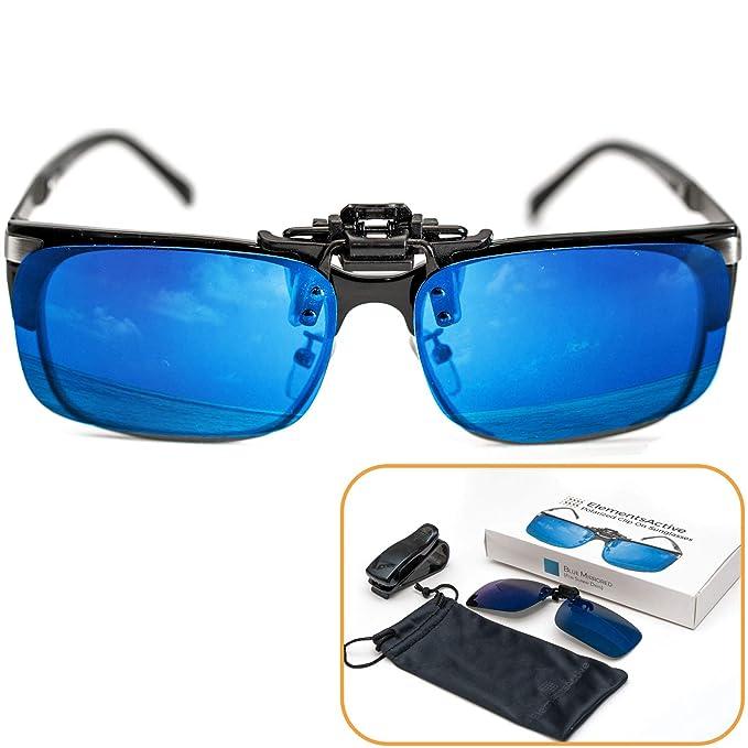 Gafas de sol accionadas por clip polarizadas con reflejos azules, con protección antideslumbrante UV400 UV