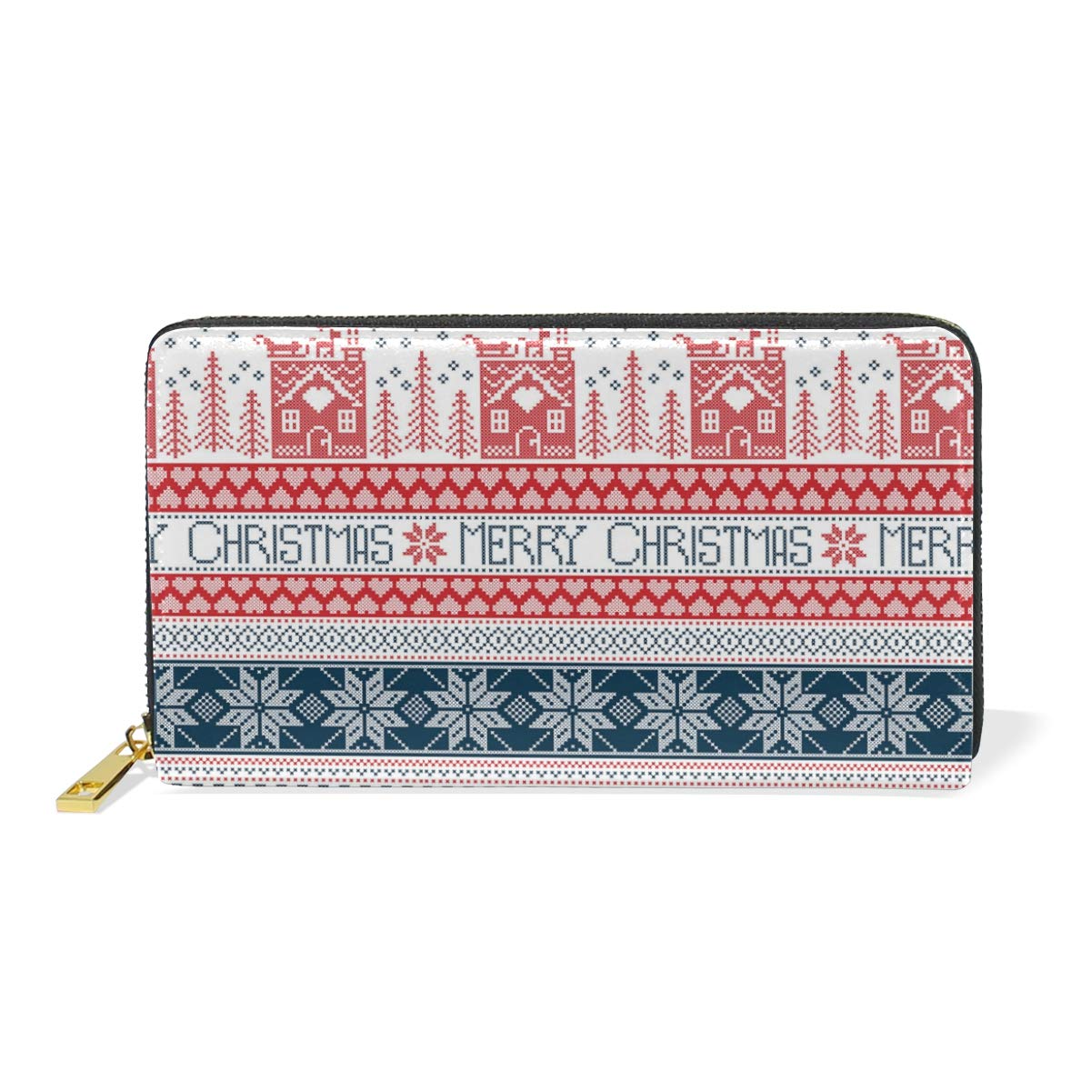 Cable Knit Christmas Stockings Real Leather Zip Around Wallet Wristlet minimalist wallet Travel Purse Wristlet